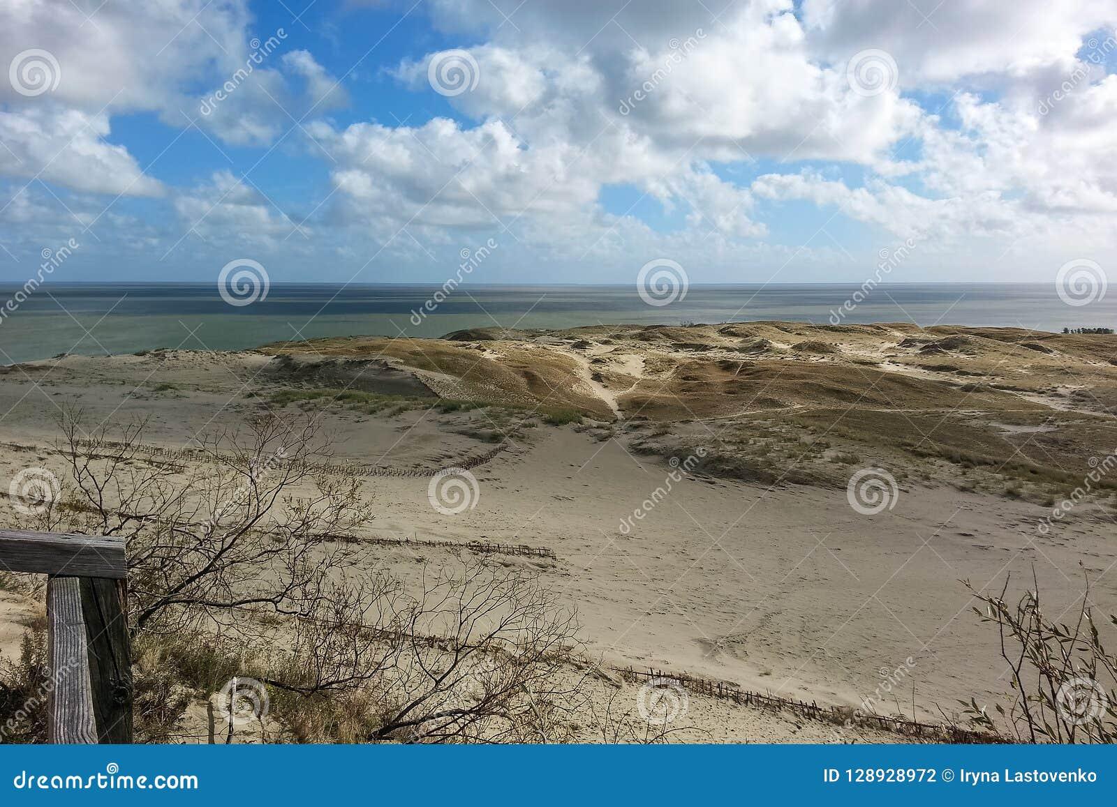 Seascape na Bałtyckiej brzegowej natury prezerwie z długim piaskowatym se