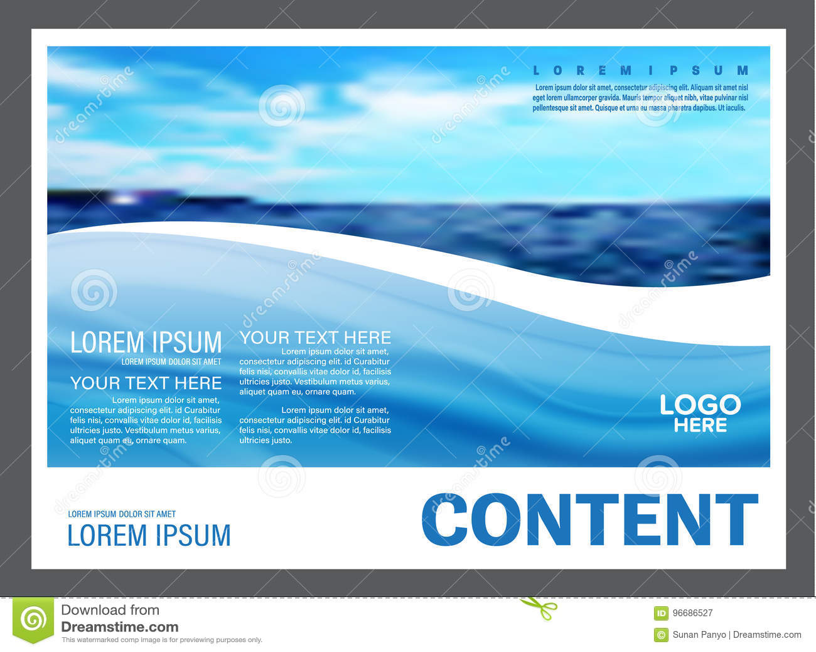 Seascape och för presentationsorientering för blå himmel bakgrund för mall för design för turism reser affär illustration
