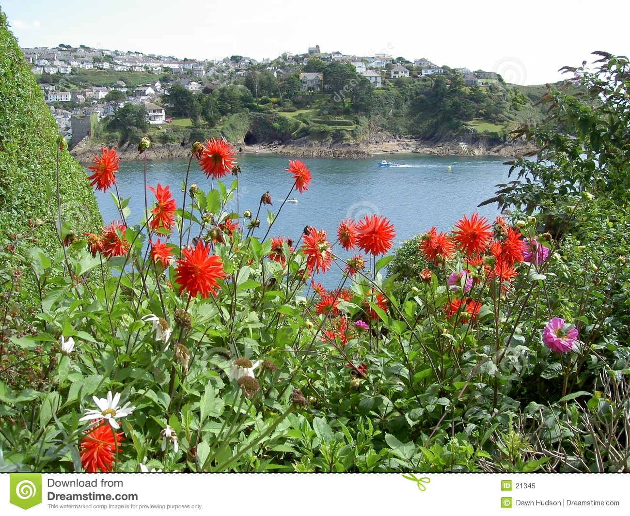 Seascape with Red Flowers