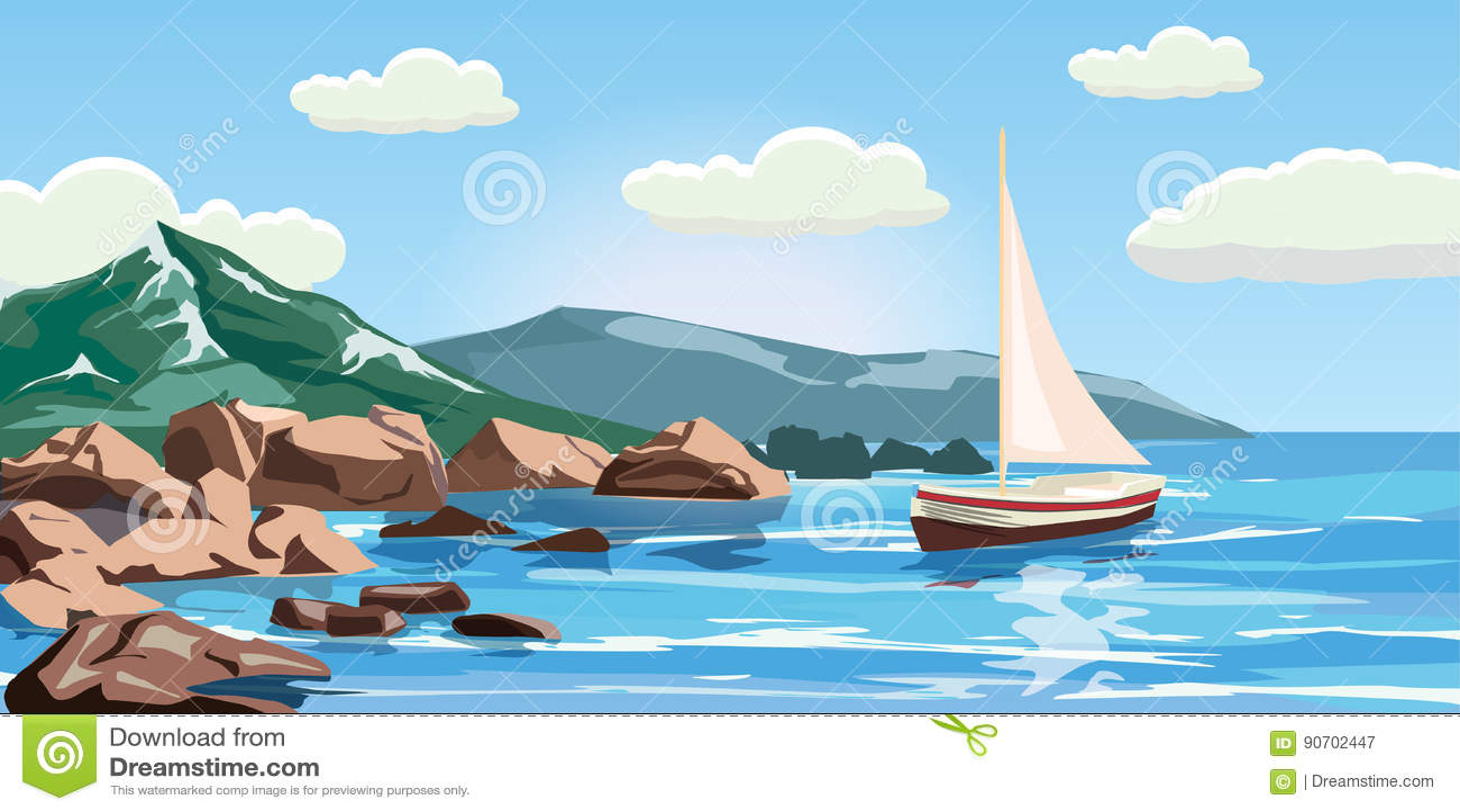 Seascape, rocks, cliffs, a yacht under sail, ocean