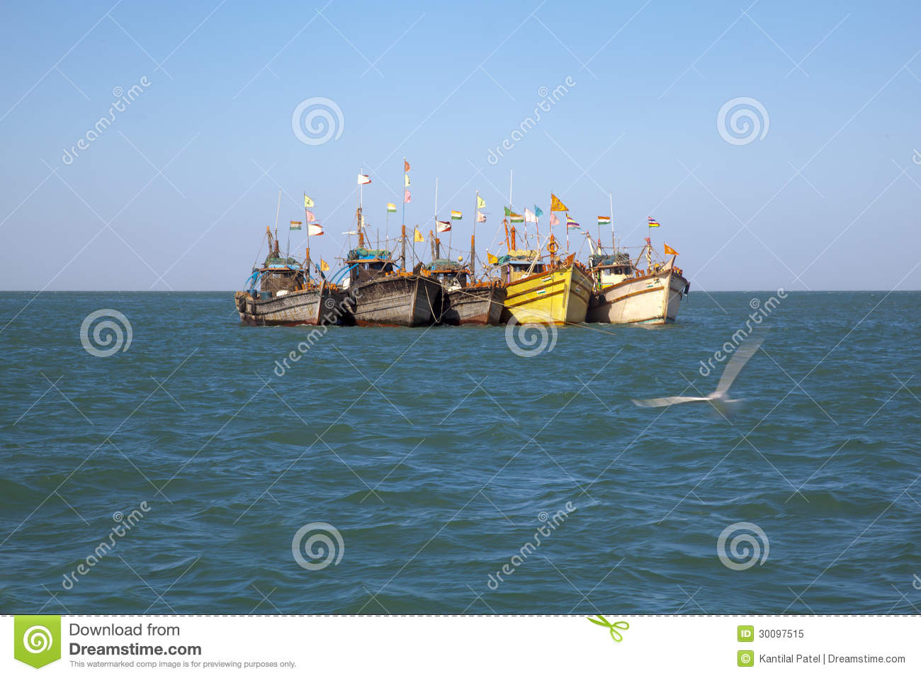 Row fishing boats anchored offshore royalty free stock for Fishing row boats