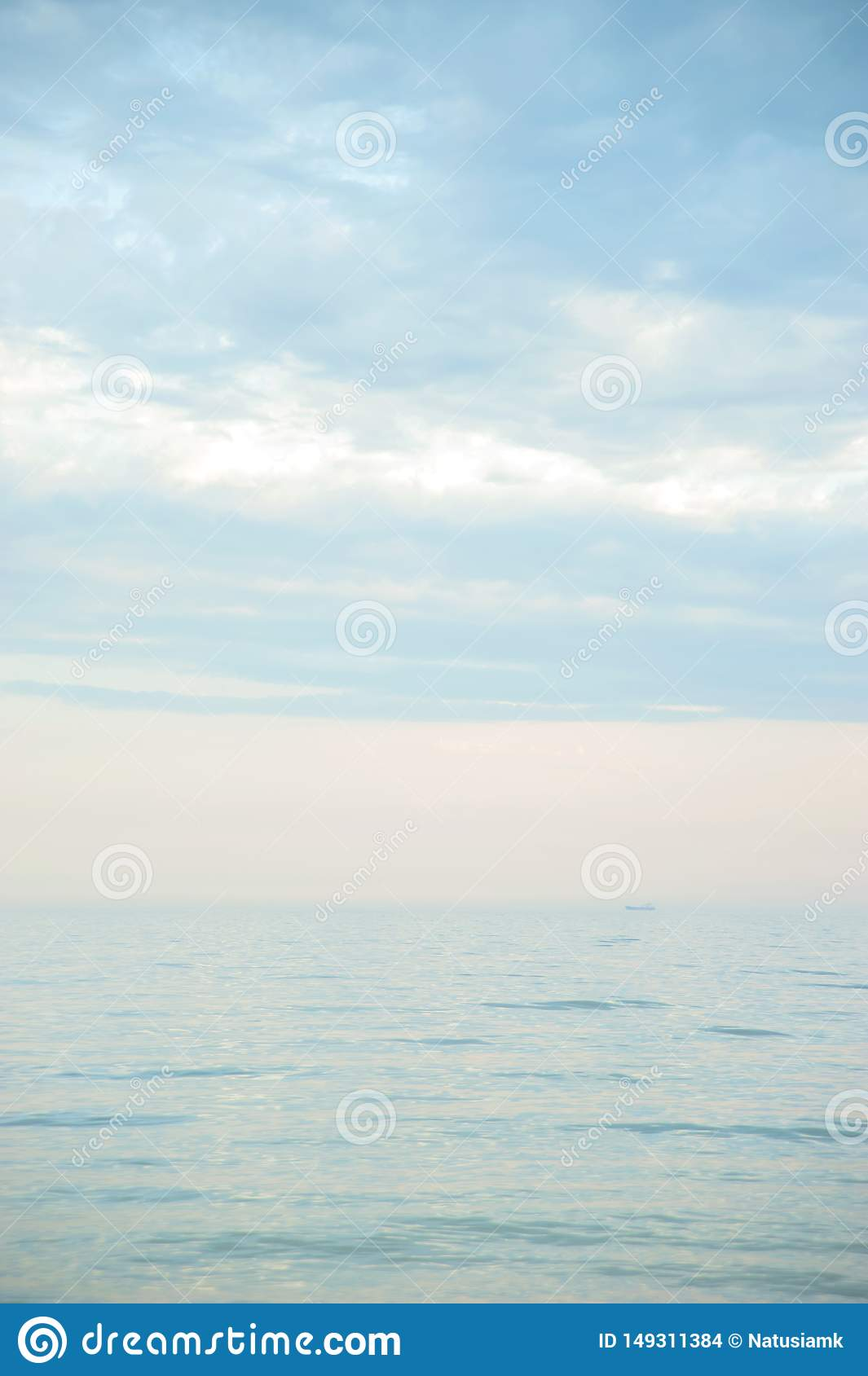 Seascape with sea horizon and blue sky. Background. Painterly seascape scene with relaxing sunset colours