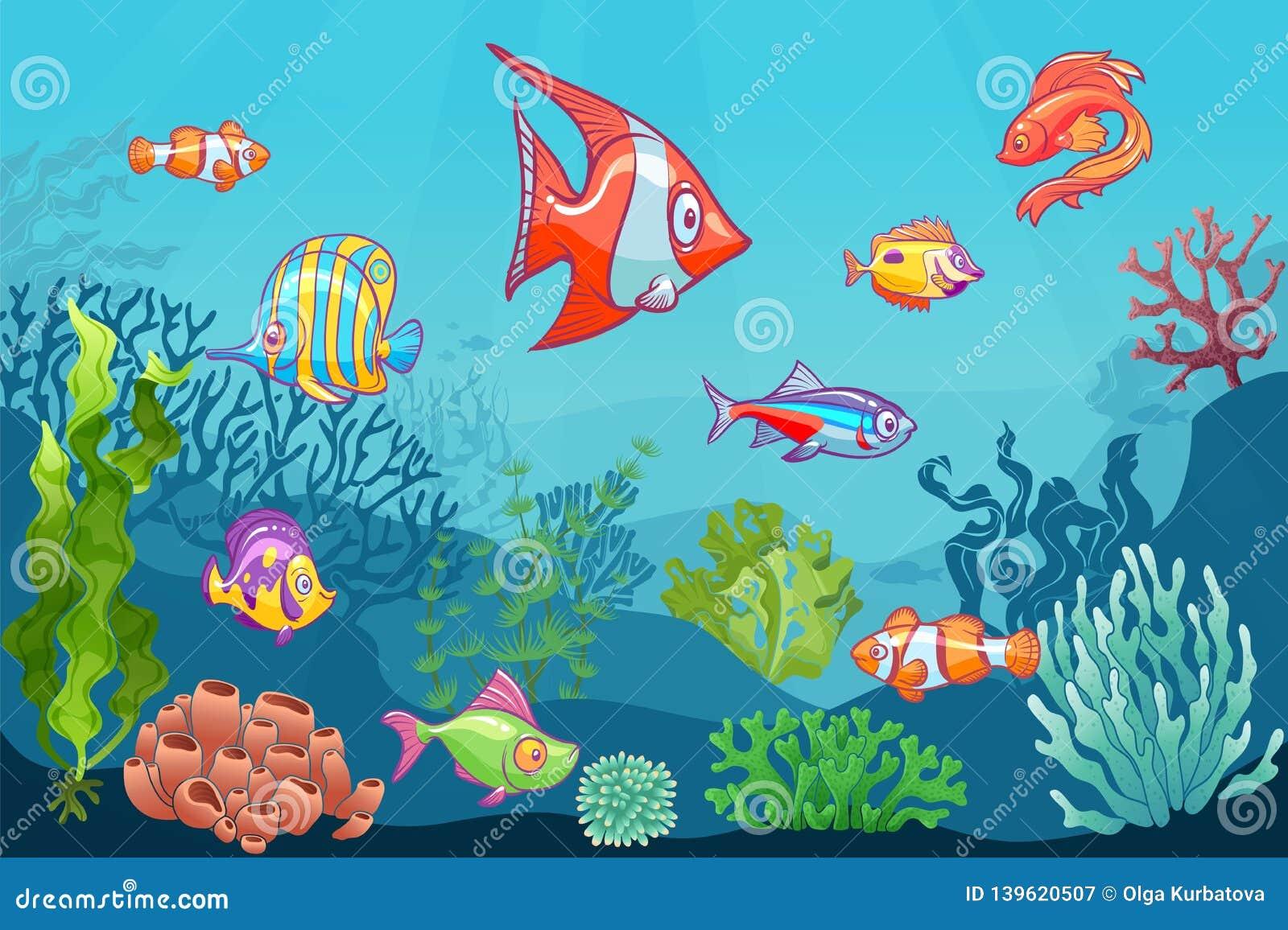 Seascape subaquático Vida selvagem do mar aquático dos desenhos animados no fundo inferior do vetor Grupo coral da criança da alg