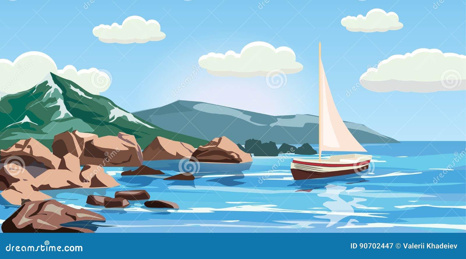 Seascape vaggar, klippor, en yacht seglar under, havet