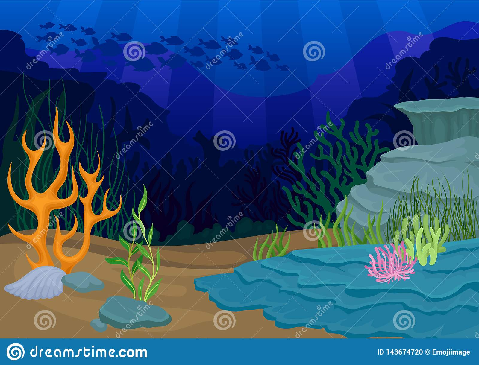 Seascapes concept. oral reef and school of fish.