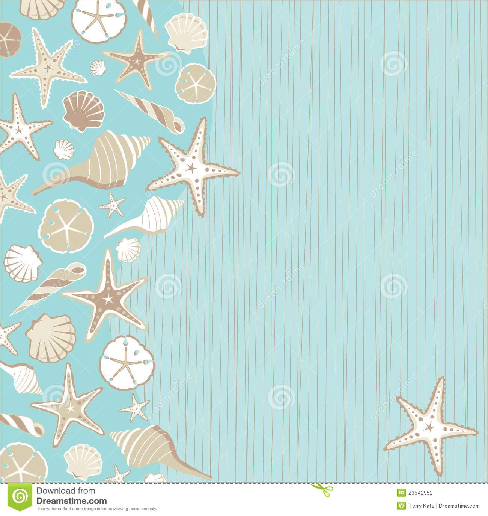 Beach Theme Card Stock: Seashell Beach Party Invitation Stock Photography