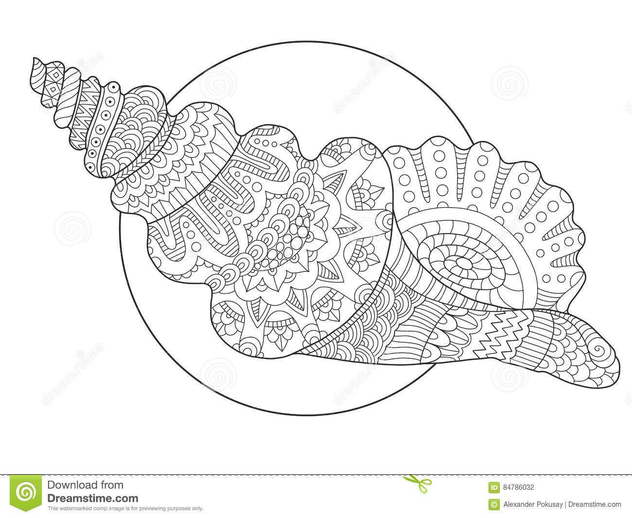 seashell coloring book vector illustration anti stress adult tattoo stencil black white lines lace pattern