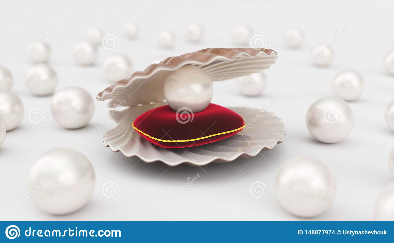 Pillow With Beads Inside.Seashell With Pearls Inside On Red Velvet Pillow Gems