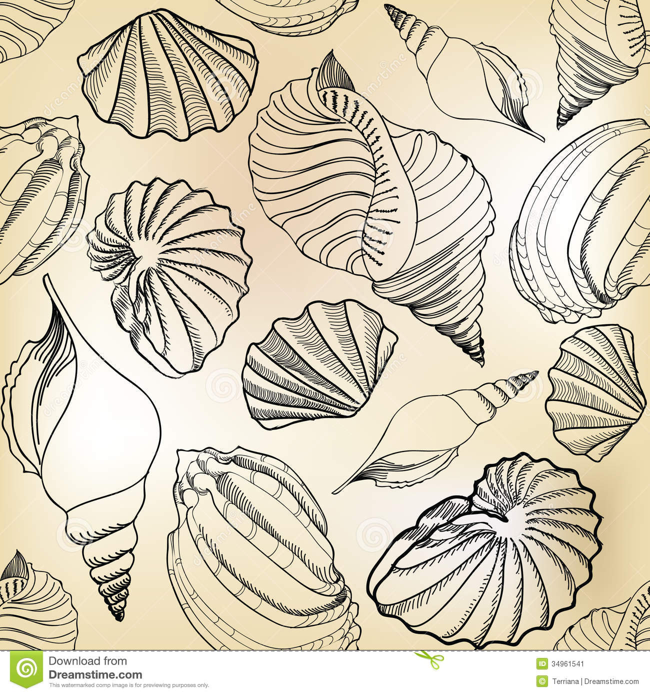 Seashell Sand Seamless Texture. Hand Drawn Stylish Summer Stock Image ...