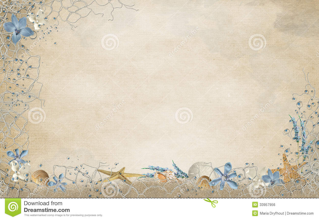Seashells And Netting Border Stock Illustration ...