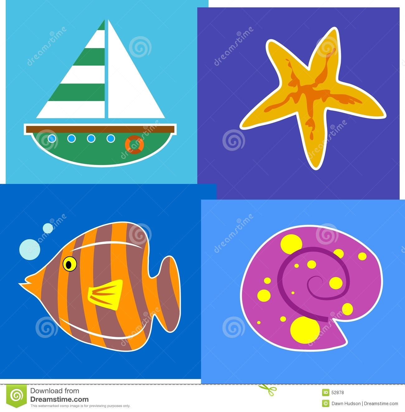 ... the seaside with a sailing boat, a starfish, a fish and a beach shell