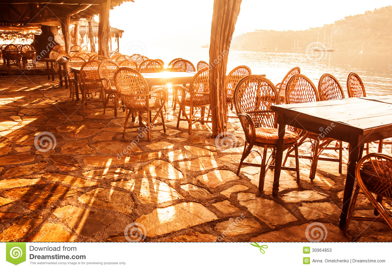Seaside Cafe In Sunset Light Stock Photos Image 30964853