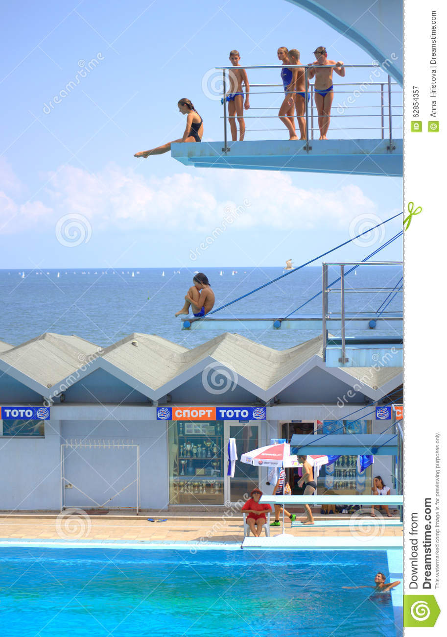 Seaside Diving Boards Teens Swimmers Editorial Photography Image 62854357