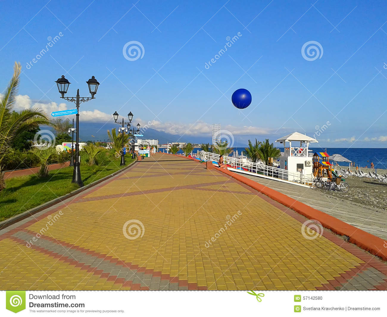 The seaside promenade at sunny day