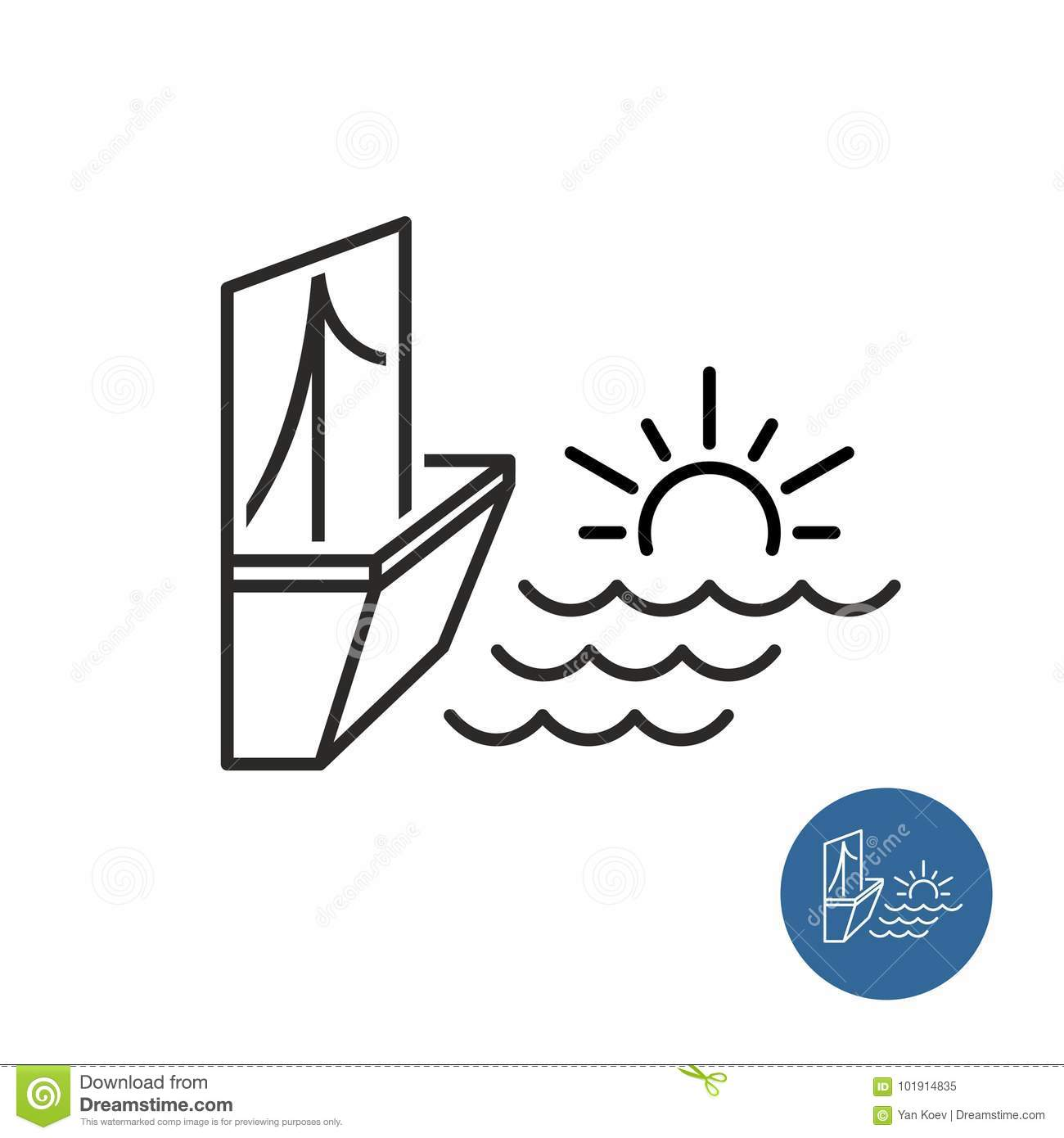 Seaside View Icon Stock Vector Illustration Of Hotel 101914835