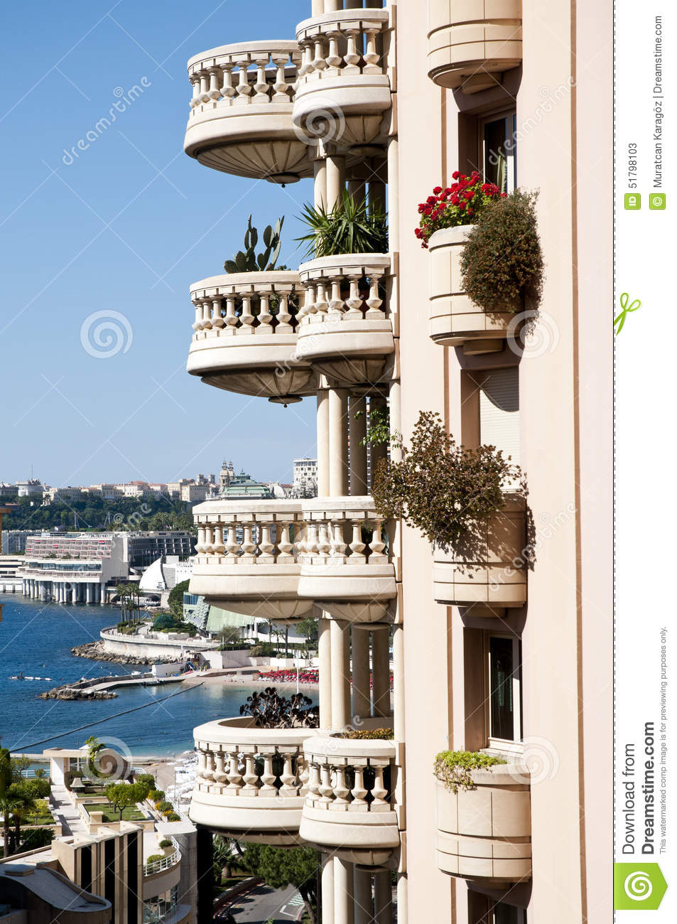 Seaside View In Monaco Big Balcony And Flowers Monte Carlo Apartments