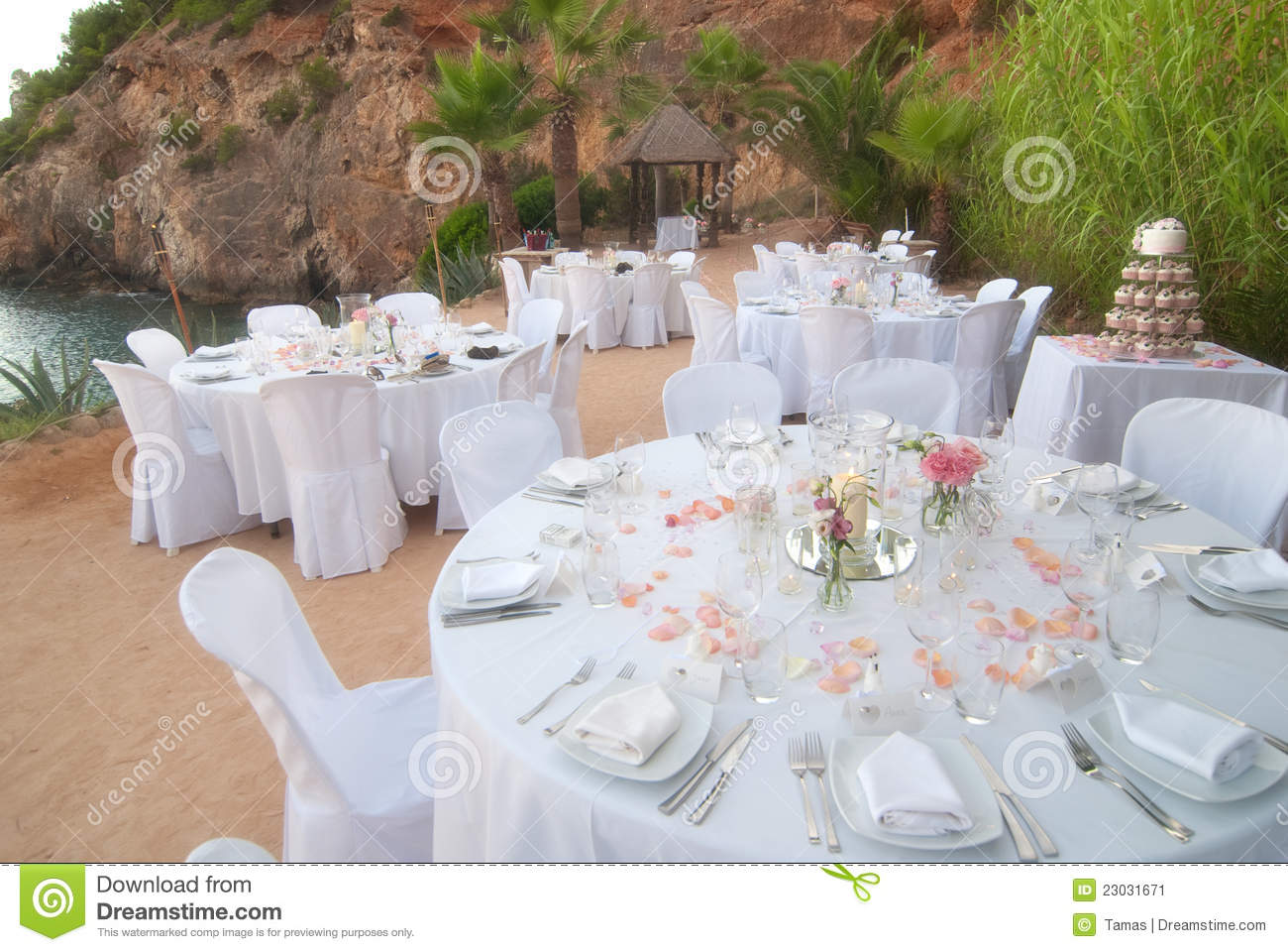 Seaside Wedding Banquet Stock Image Image