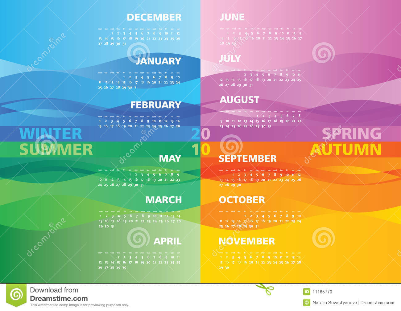 Season Calendar 2010 Stock Photo Image 11165770