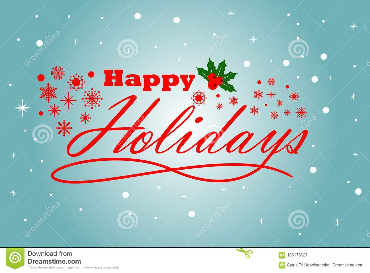 Season Greeting Happy Holidays With Light Blue Background Stock