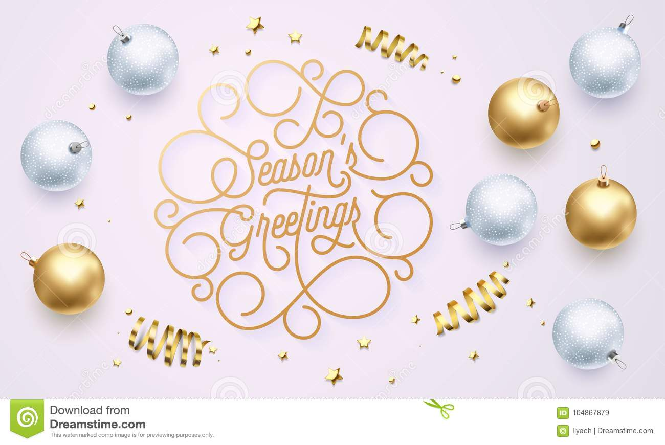 Season Greetings Font Text Flourish Golden Calligraphy Lettering Of