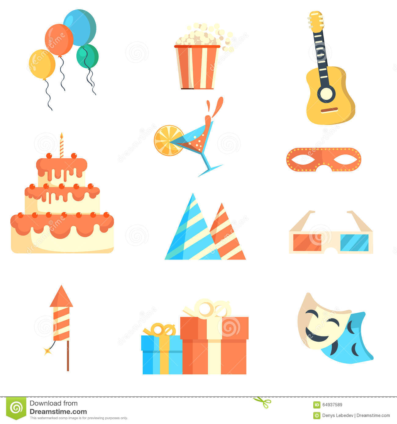 Set Of Icons On The Celebration Cartoon Vector