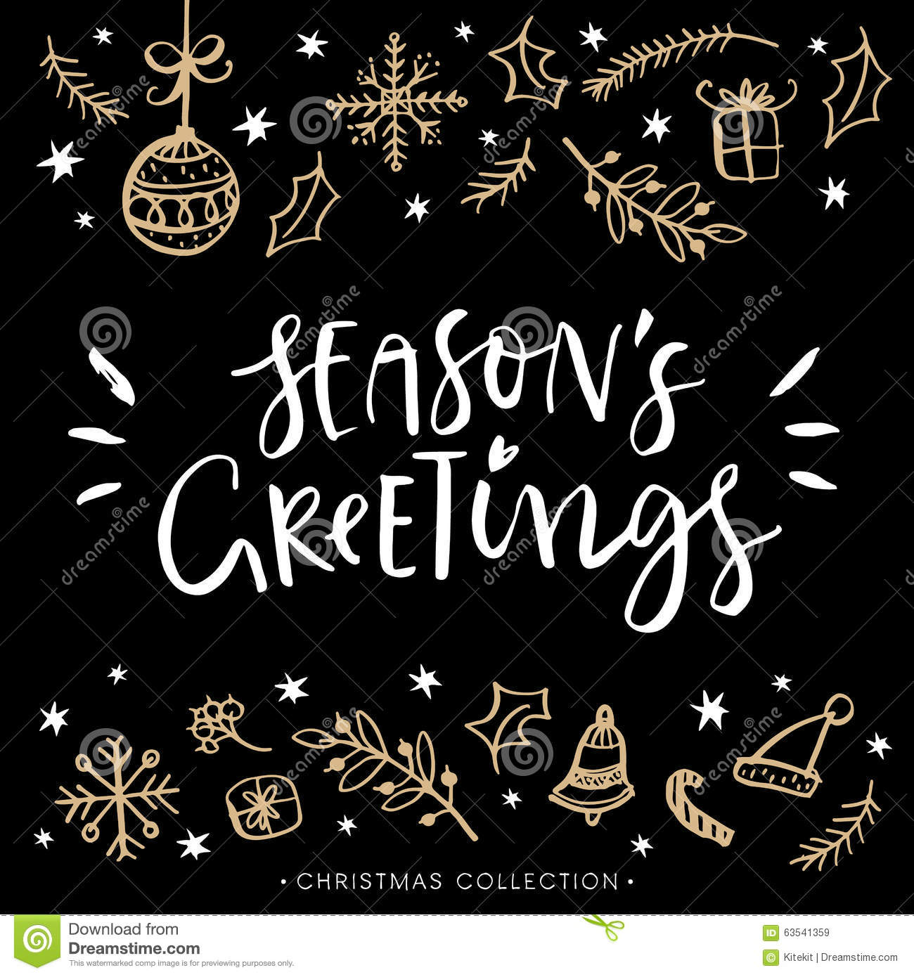 season s greetings christmas greeting card with calligraphy stock