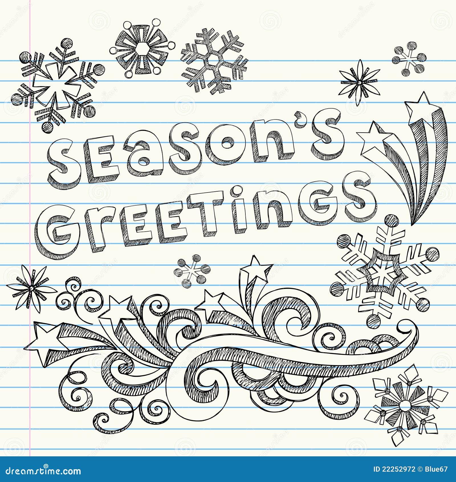 Seasons Greetings Hand Drawn Sketchy Doodles Stock Vector