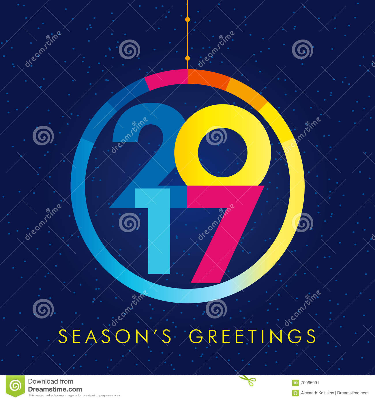 2017 new year creative colored design for your greetings card, flyers ...