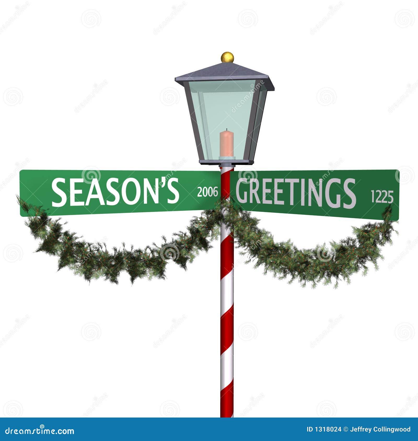 Seasons Greetings Street Sign 3 Stock Illustration Illustration