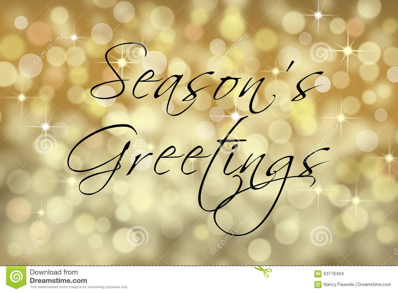 Seasons Greetings text card with bokeh background.