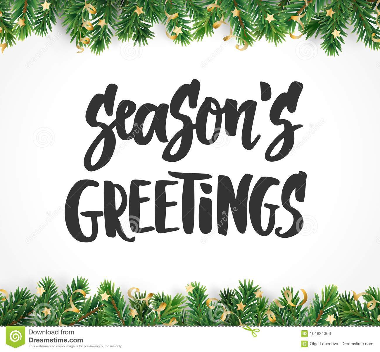 Seasons Greetings Text Hand Drawn Brush Lettering Holiday Quote
