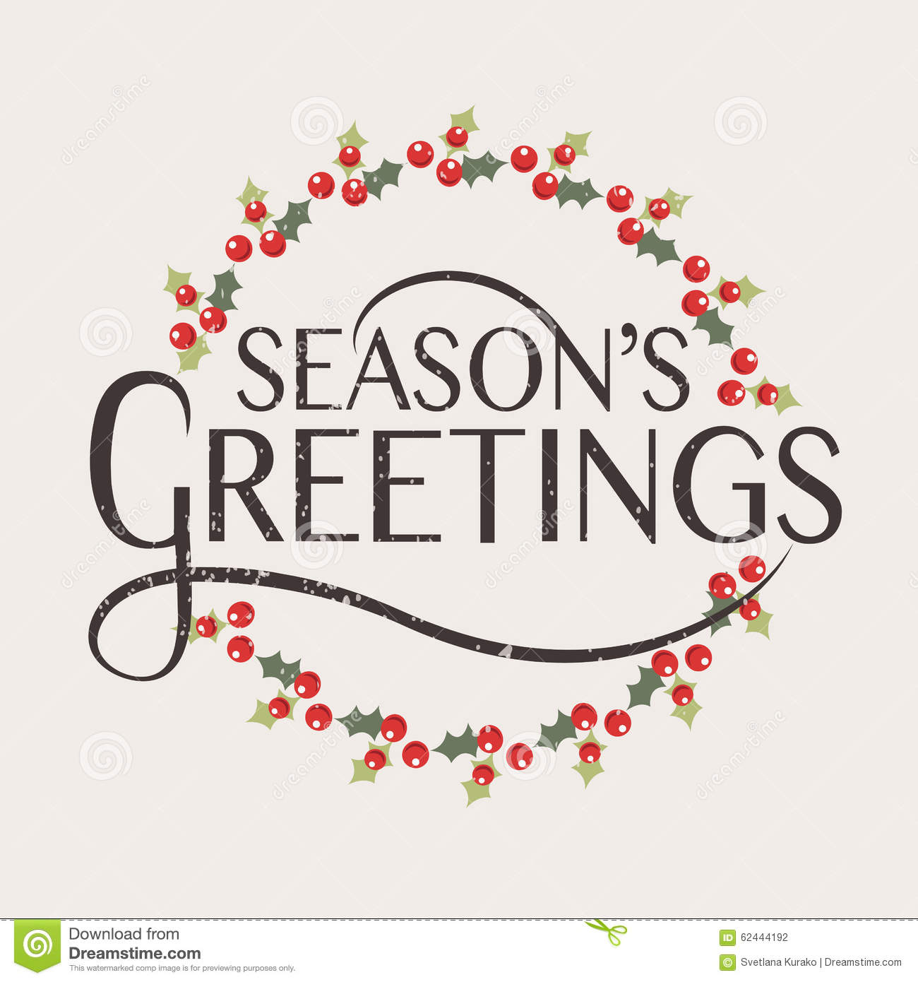 Season's Greetings Typography For Christmas/New Year Greeting Card ...