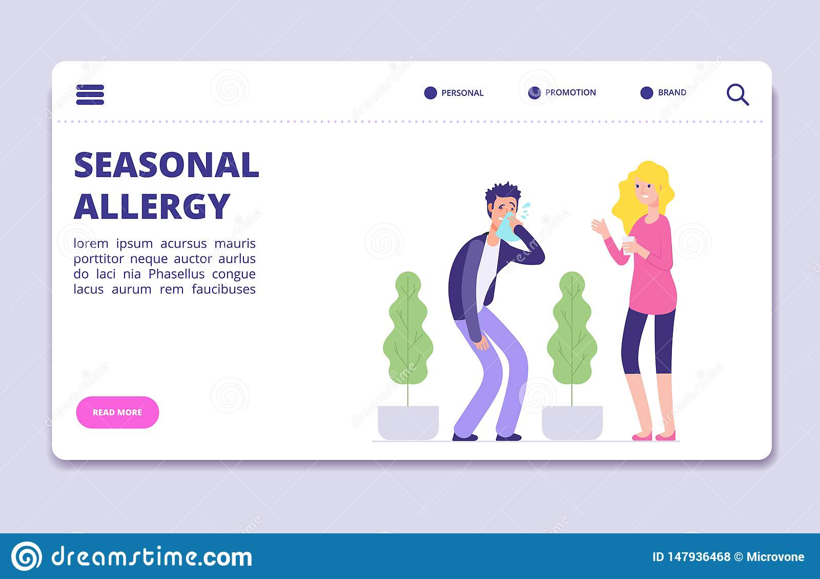 Seasonal allergy vector illustration. Office man with allergy symptoms - health landing page, banner template