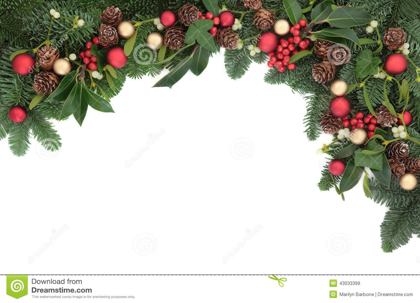 Christmas Seasonal Border Of Holly, Mistletoe, Royalty Free Stock ...