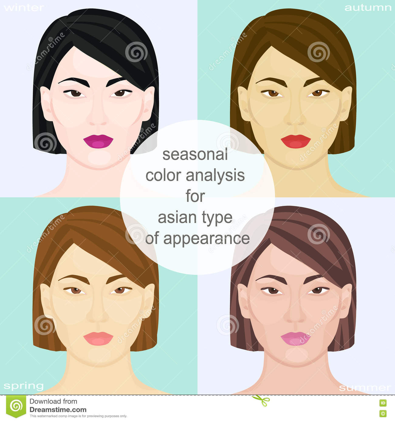 Seasonal Color Analysis For Asian Type Of Appearance Set