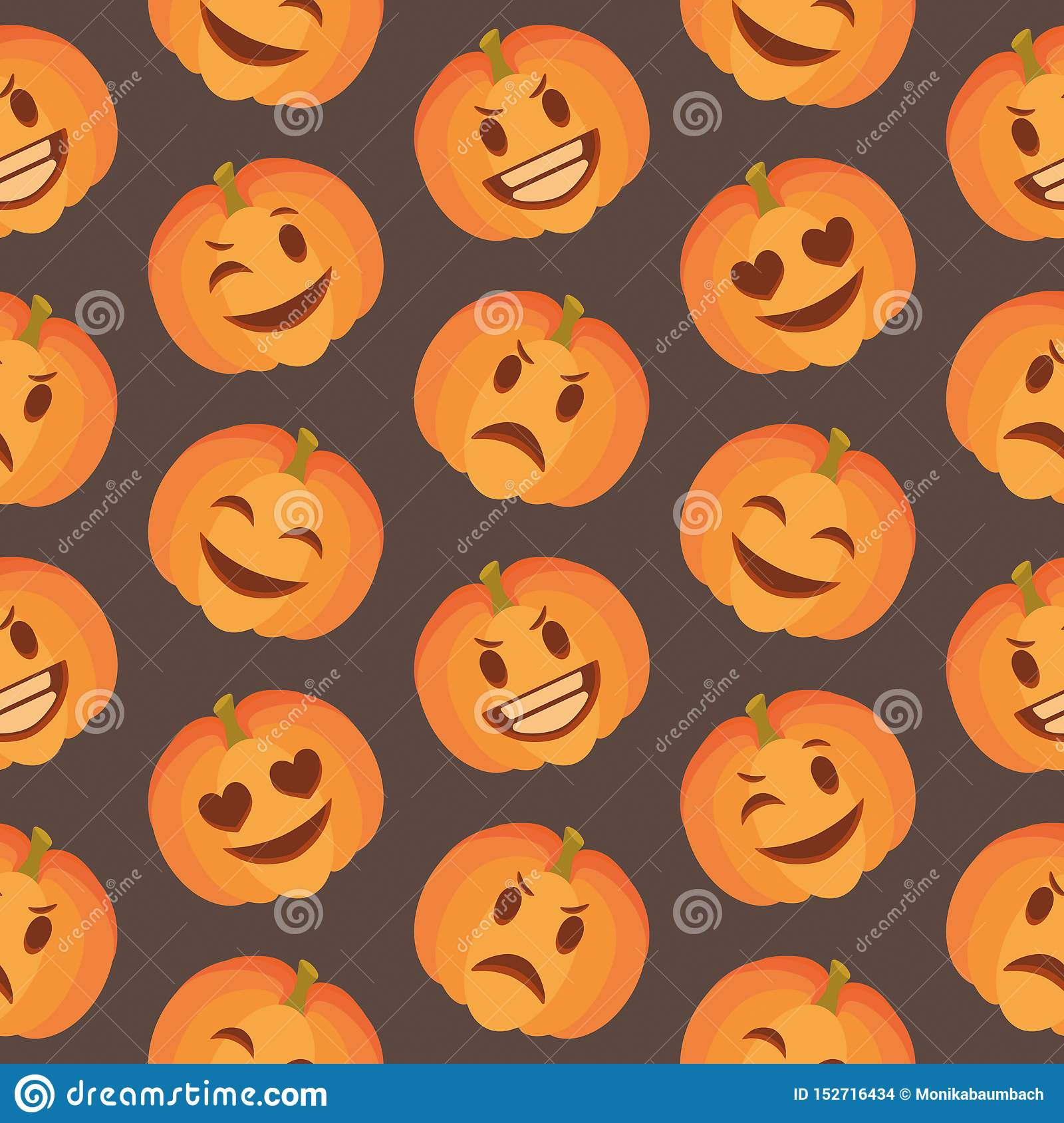 Seasonal Cute Halloween Seamless Pattern With Happy And Sad