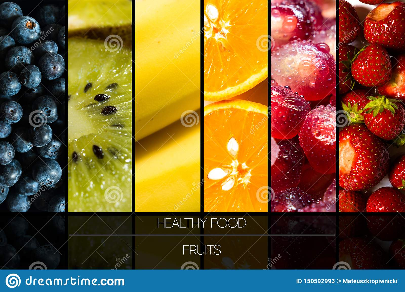 Seasonal Fruits Represented In Side By Side On Black Background With Reflections And Stock Image Image Of Calorie Juicy 150592993