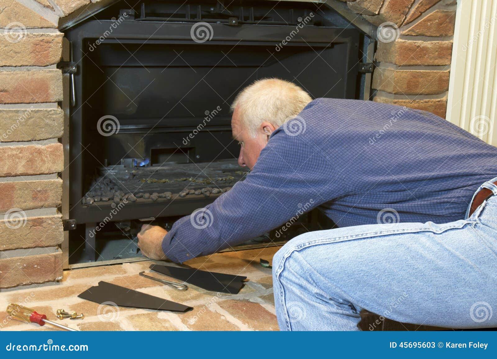 Seasonal Maintenance Gas Fireplace Stock Image