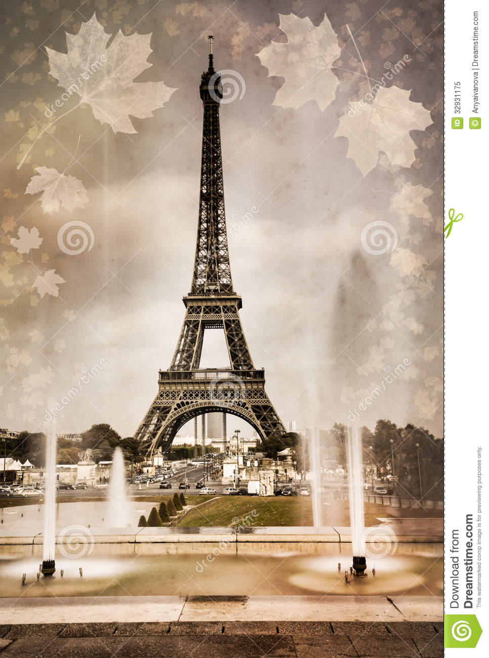 Seasonal picture of eiffel tower in paris royalty free stock photo image 3 - Vintage style images ...