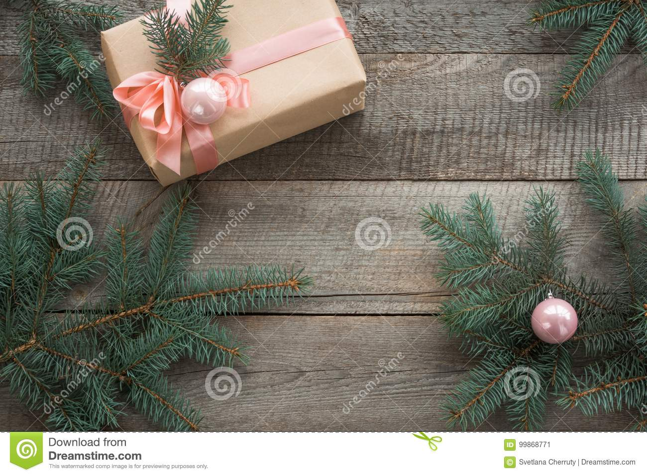 Christmas Still Life Of Giftbox With Pink Ribbon And Decor Seasonal Rustic Christmas Border Composed Of Decorative Gifts Ornamen Stock Image Image Of Beige Parchment 99868771