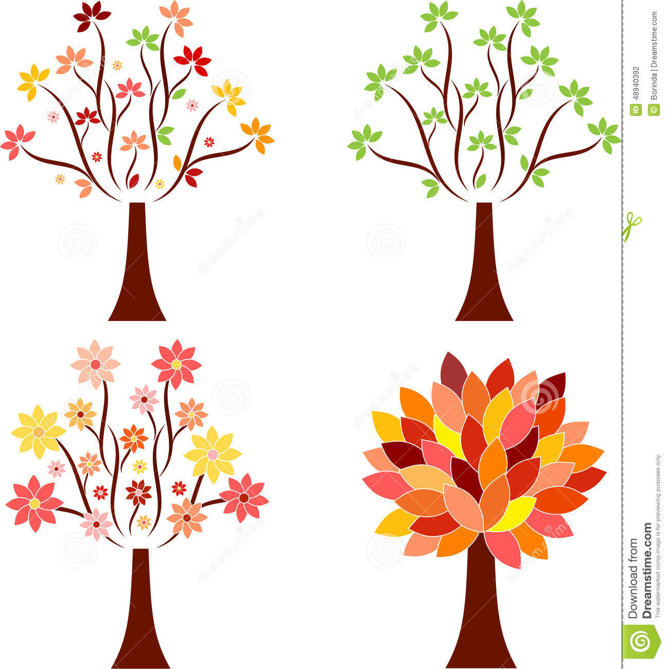 Seasonal tree illustrations stock illustration image 48940392 - Flowers that bloom from spring to fall ...