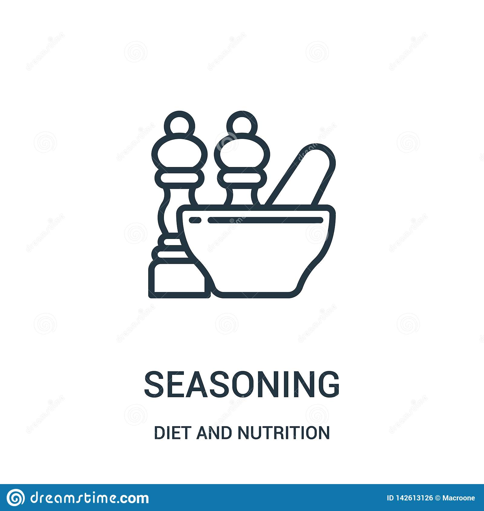 seasoning icon vector from diet and nutrition collection. Thin line seasoning outline icon vector illustration. Linear symbol