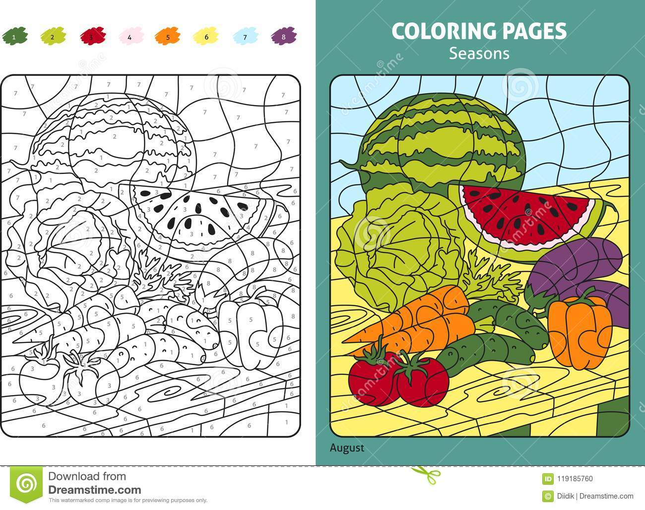 picture about Seasons Printable identified as Seasons Coloring Web page For Children, August Thirty day period Inventory Vector