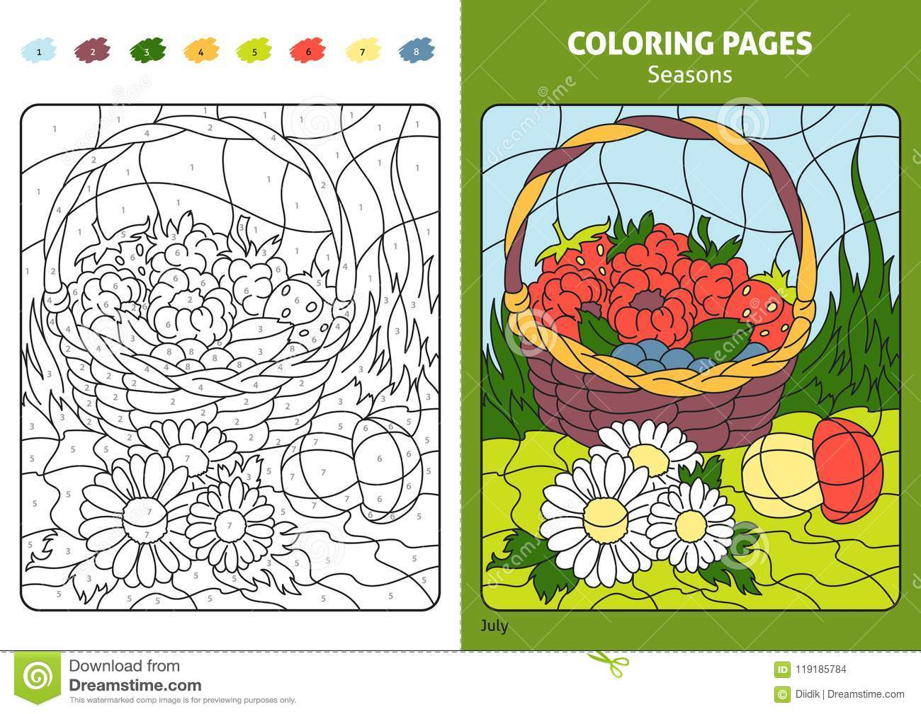 Seasons Coloring Page For Kids, July Month. Stock Vector ...