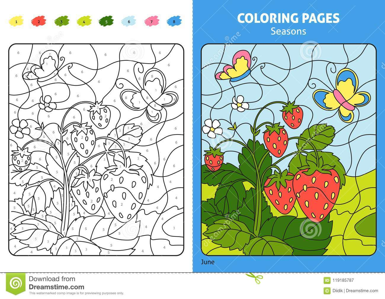 Seasons Coloring Page For Kids, June Month. Stock Vector ...