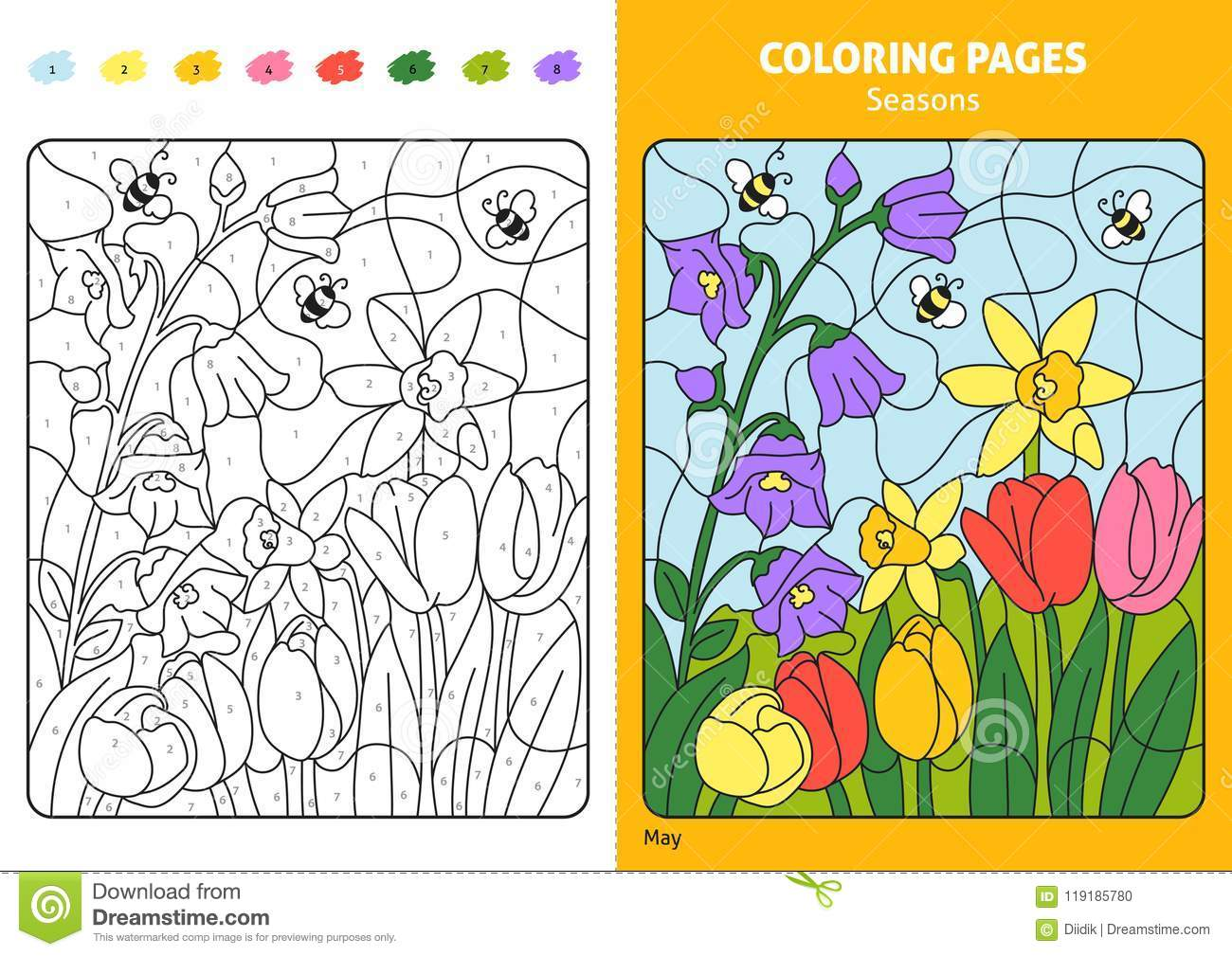 Seasons Coloring Page For Kids May Month Stock Vector