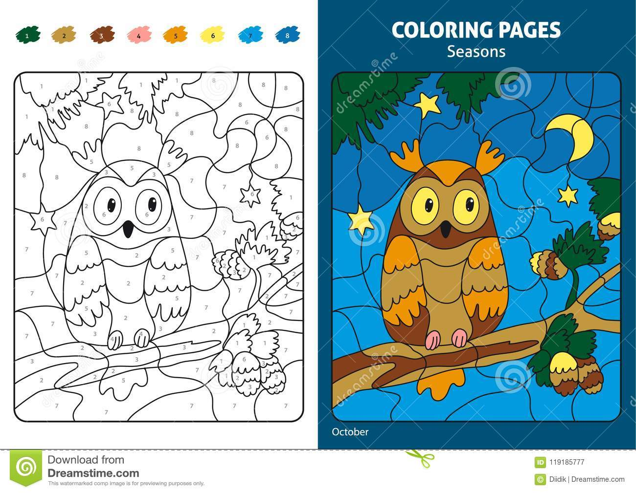 Download Seasons Coloring Page For Kids Stock Vector