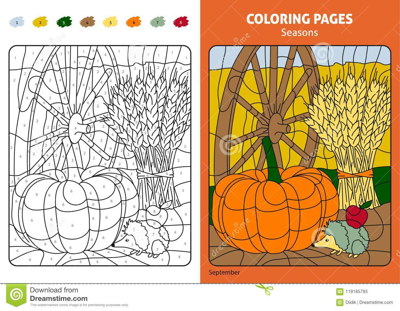 Seasons Coloring Page For Kids, September Month Stock