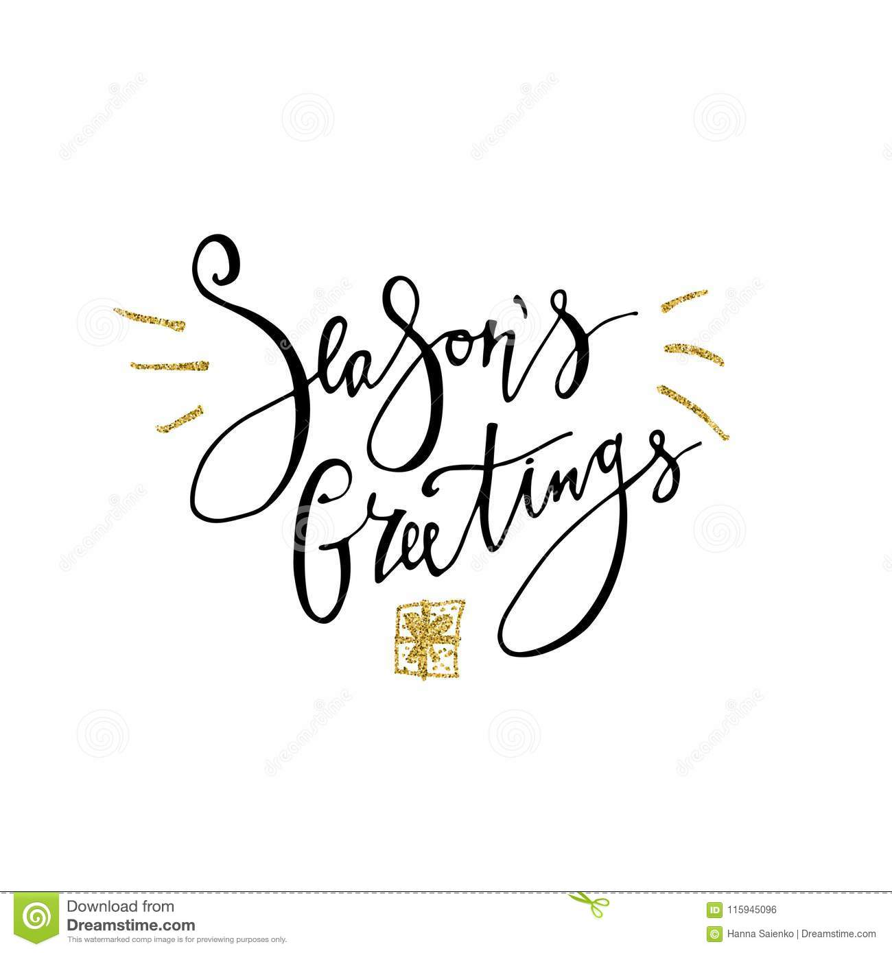 Seasons greetings card calligraphy phrase with gold glitter present seasons greetings card calligraphy phrase with gold glitter present modern lettering new year card used for greeting card valentines day banner m4hsunfo