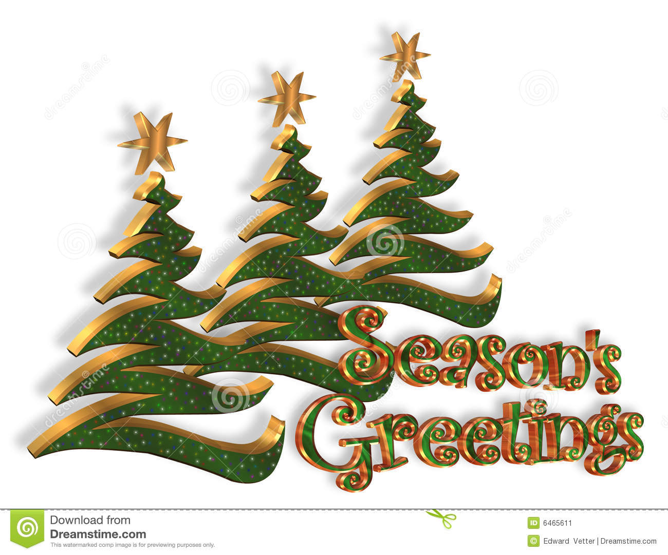 Seasons Greetings Christmas Trees Stock Illustration